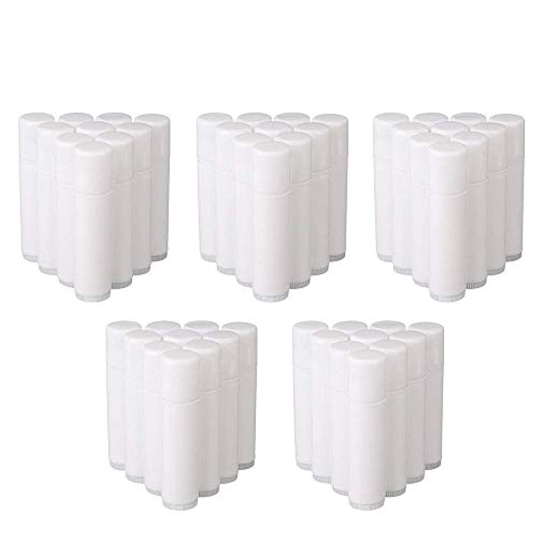ホラースプーン圧倒的COOLBOTANG リップバームチューブ リップクリーム 繰り出し ホワイト 手作りコスメ 手作り化粧品/リップクリーム 50個 5g ミニ 詰め替え容器