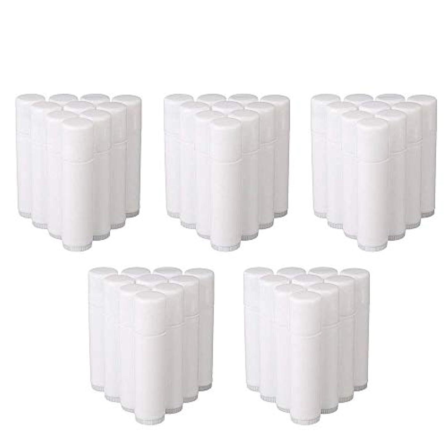 入力かる帳面COOLBOTANG リップバームチューブ リップクリーム 繰り出し ホワイト 手作りコスメ 手作り化粧品/リップクリーム 50個 5g ミニ 詰め替え容器