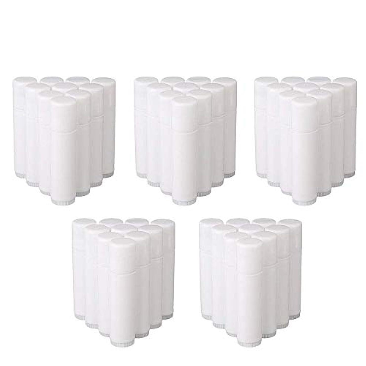 欠員勢い故障COOLBOTANG リップバームチューブ リップクリーム 繰り出し ホワイト 手作りコスメ 手作り化粧品/リップクリーム 50個 5g ミニ 詰め替え容器