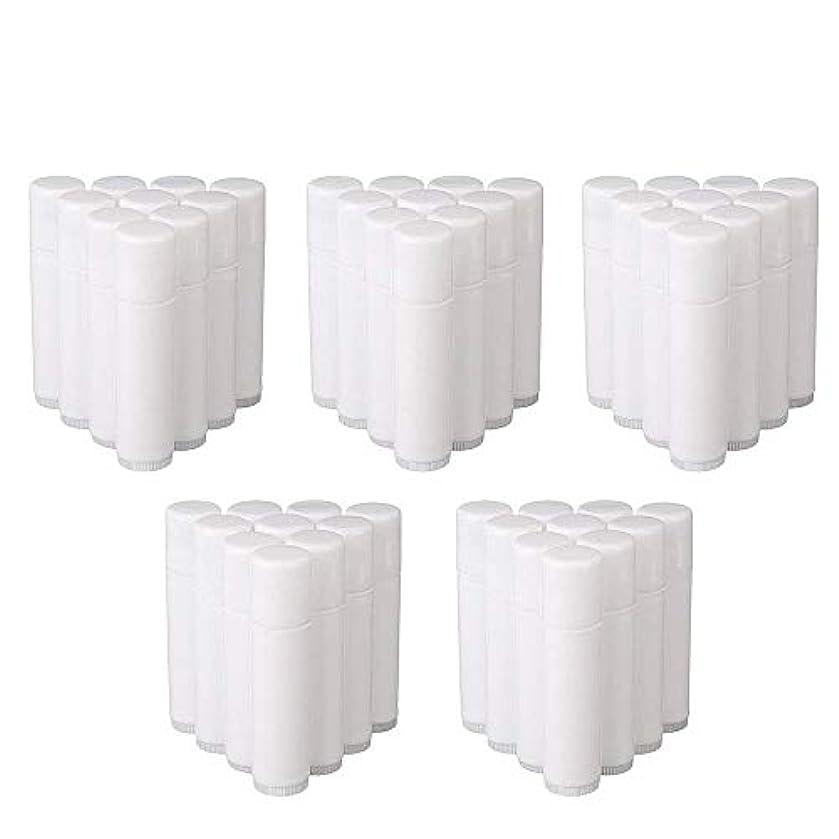 抑圧扱う乳COOLBOTANG リップバームチューブ リップクリーム 繰り出し ホワイト 手作りコスメ 手作り化粧品/リップクリーム 50個 5g ミニ 詰め替え容器