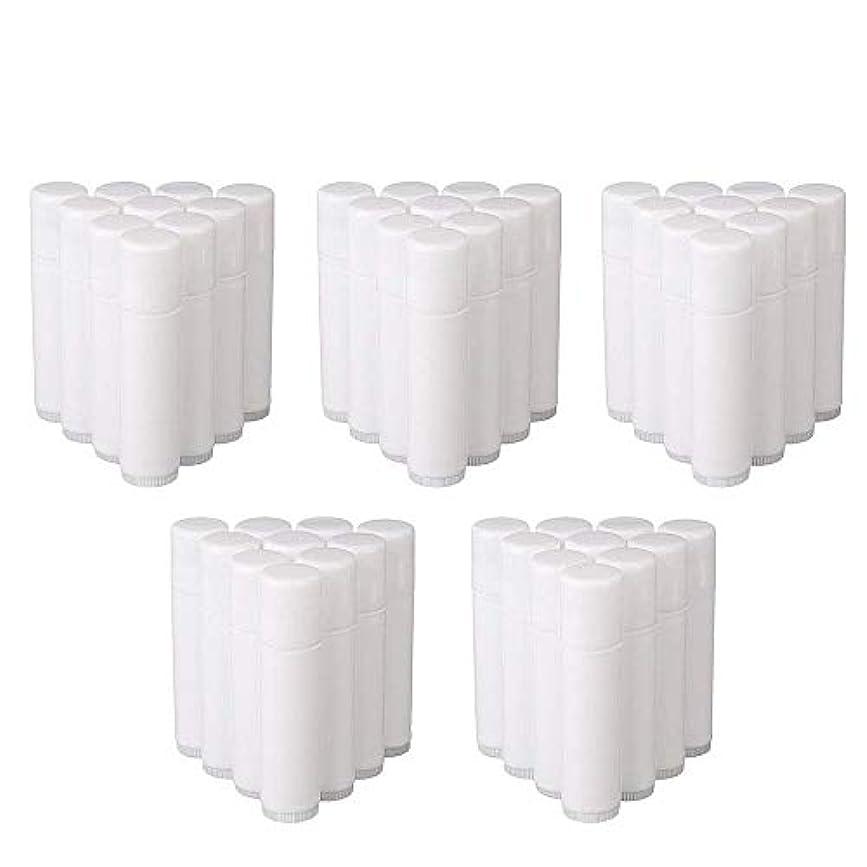 新しい意味パッド読み書きのできないCOOLBOTANG リップバームチューブ リップクリーム 繰り出し ホワイト 手作りコスメ 手作り化粧品/リップクリーム 50個 5g ミニ 詰め替え容器