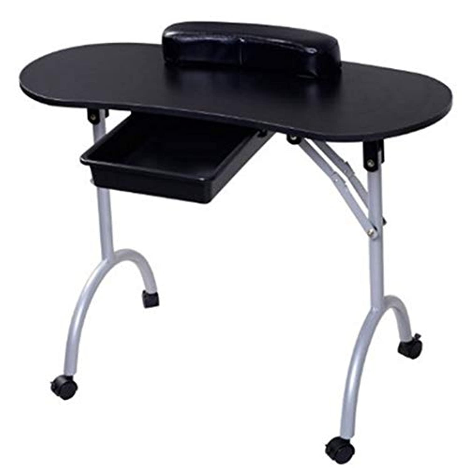 人ものトランク折りたたみネイルテーブルホームポータブルモバイルプーリー車スタジオビューティーサロンマニキュアテーブル引き出しとリストレストとキャリングバッグ,Black