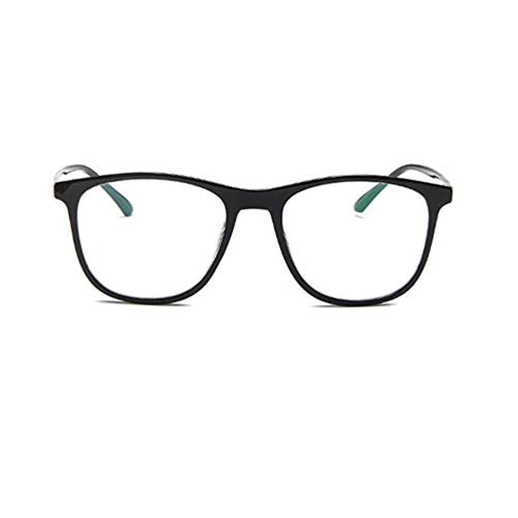 側順応性のある繰り返す韓国の学生のプレーンメガネの男性と女性のファッションメガネフレーム近視メガネフレームファッショナブルなシンプルなメガネ-ブライトブラック