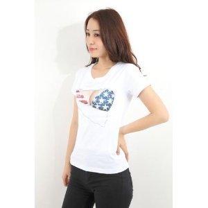 ネタT メンズドキドキ☆ 胸とブラが見えてる? セクシーおっぱいTシャツ 3D おもしろプリント 巨乳 Tシャツ アメリカ国旗 Mサイズ