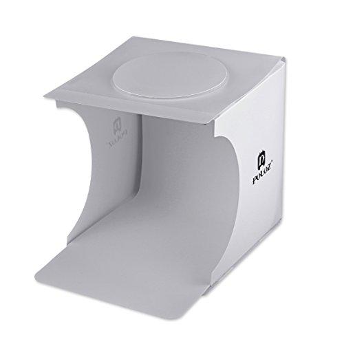 撮影ボックス ライト付き、PULUZ 20cm 1100LM 小型 コンパクト 高輝度 スタジオ 撮影用 ライト ボックス、写真用 簡易 スライティング テント、USB給電 照明 、2つのLEDライトバー 背景布2枚付き、折りたたみ 携帯型 収納便利 設置簡単