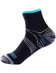 快適な男性の女性の膝の靴下のサポートストレッチ通気性の靴下の下の短いストレッチ圧縮の靴下(Color:black&blue)(Size:S/M)