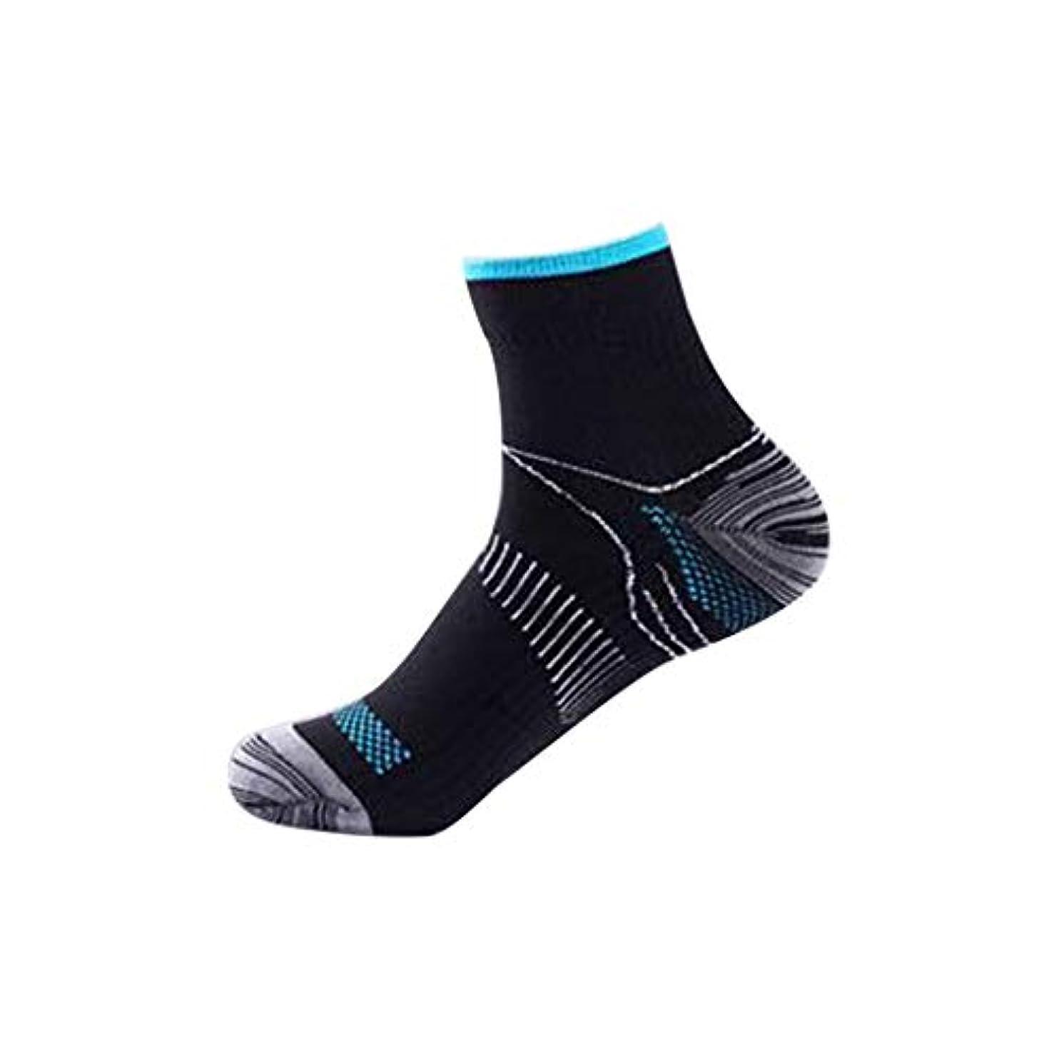 後恩恵手綱快適な男性の女性の膝の靴下のサポートストレッチ通気性の靴下の下の短いストレッチ圧縮の靴下(Color:black&blue)(Size:S/M)