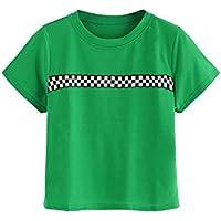 HUILAN Women's Short Sleeve Round Neck Checkered Striped Cute T-Shirt Tops