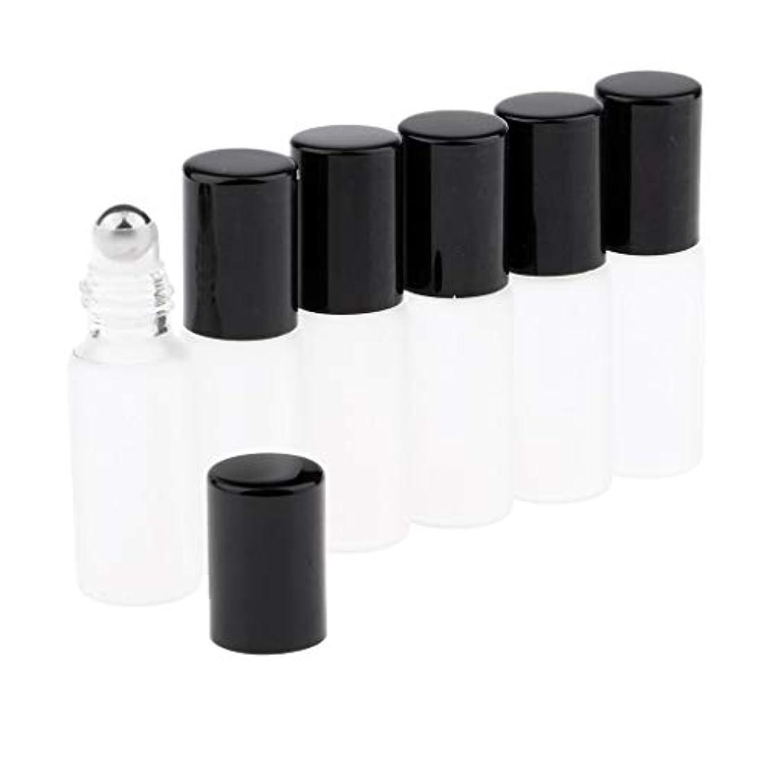 苦い買い物に行くスキーCUTICATE ガラスアロマボトル 精油 小分けボトル アロマオイル用瓶 香水用瓶 空のローラーボトル 精油ロールボトル 3色 - ブラック