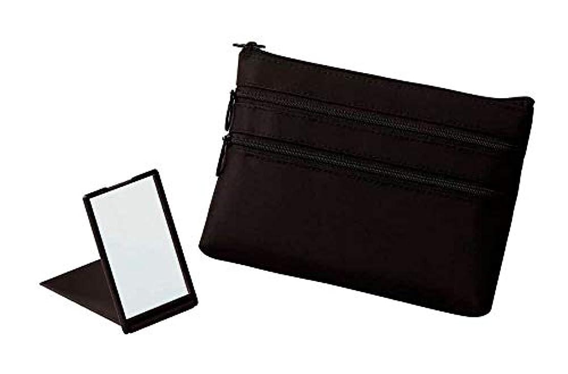 保険縮約入手します【+Aura】プラスオーラ セルム スリム ポーチ (ミラー付き) 黒 ピンク 人気 化粧ポーチ バッグインバッグ 旅行