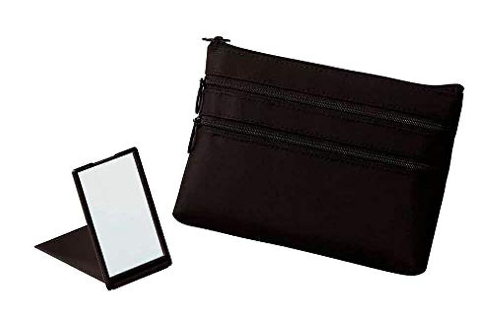 きつくファイバミッション【+Aura】プラスオーラ セルム スリム ポーチ (ミラー付き) 黒 ピンク 人気 化粧ポーチ バッグインバッグ 旅行