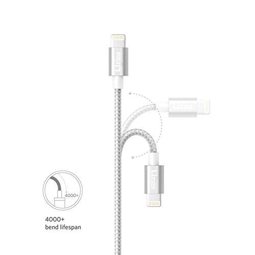Lizone [Apple MFi公認] 1m USB Lightning ケーブル (ナイロン編み)(iPhone 6s、6s Plus、6、6 Plus、5s、5c、 5、iPad Pro/Mini/Air、iPad5、iPodその他に対応) Lightningコネクター付き(Silver)