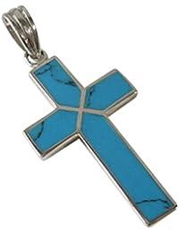 0001PPP/ターコイズクロス(8)/【メイン】シルバー925銀?ネックレス?十字架ペンダント天然石