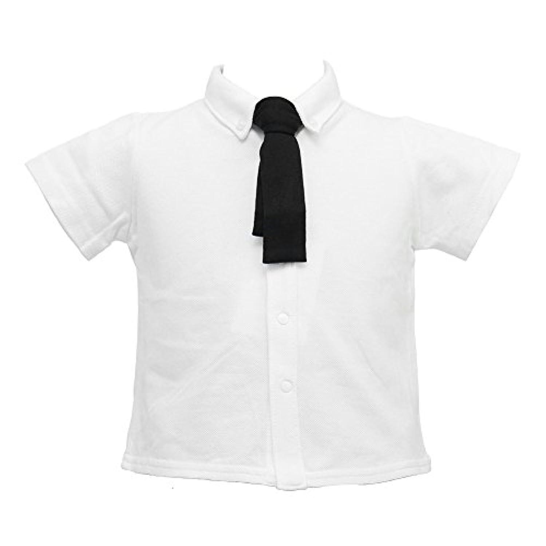 ショパン(CHOPIN) 8893-5203 ベビー ブラックタイ付半袖ポロシャツ 80 90 95cm (ホワイト, 95)