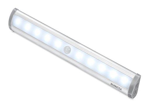AVANTEK 10 LED センサーライト 人感センサー 電池式 マグネット付き 貼り付け型 クロゼット 玄関 昼光色 ELF-L1
