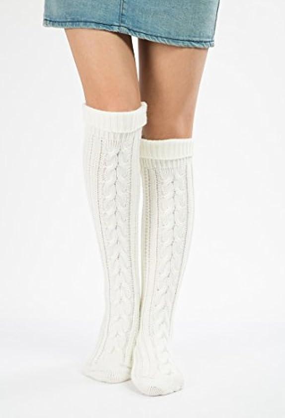 硬さイノセンストレーニングHezhipu 暖かいニットの脚カバー 足の裏の靴下 クリスマスソックス 膝の上にセットされたウールのクリスマスブーツ斜めの8ワードツイストフロアソックス ストッキング ホワイト