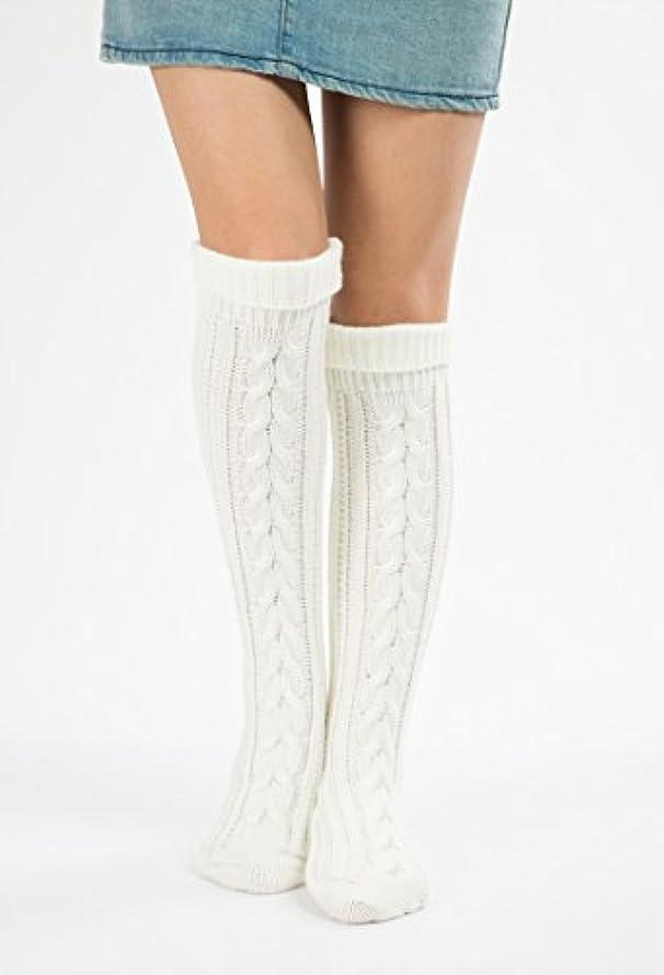 大きさ賠償緊張するHezhipu 暖かいニットの脚カバー 足の裏の靴下 クリスマスソックス 膝の上にセットされたウールのクリスマスブーツ斜めの8ワードツイストフロアソックス ストッキング ホワイト