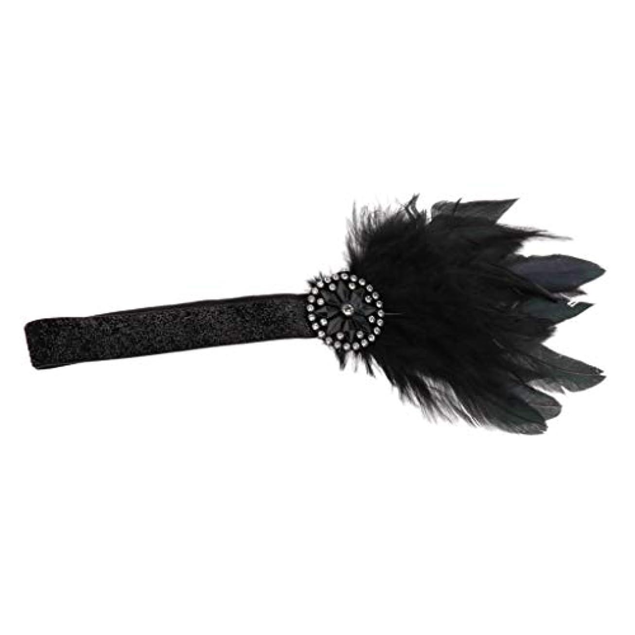 ピカリング保険をかける買収ビーズ ヘアバンド 羽柄 髪飾り カチューシャ ヘアアクセサリー フォーマル 成人式 結婚式 黒い