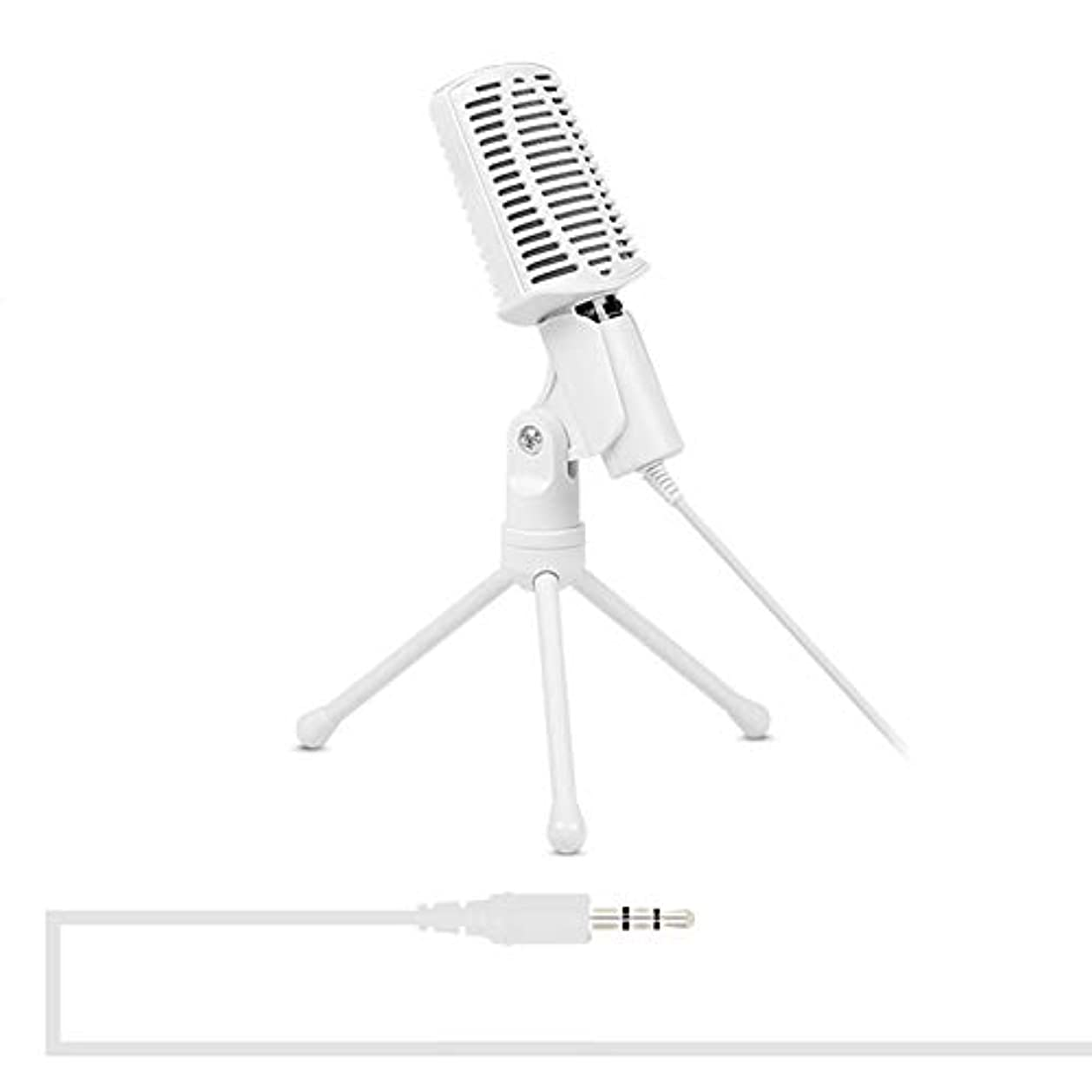 火傷反乱バックマイクアクセサリー SF-940プロフェッショナルコンデンサーサウンドレコーディングマイク、三脚ホルダー、ケーブル長:2.0m 有線マイク (色 : 白)