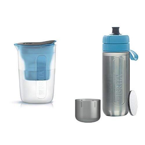 ブリタ 浄水 ポット 1.0L ファン ブルー + ブリタ 水筒 携帯用 浄水器 ボトル フィル&ゴー アクティブ ブルー