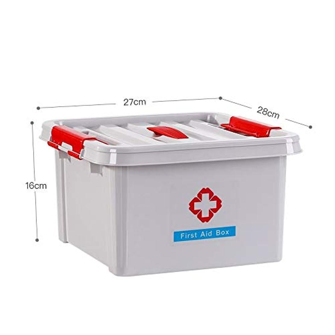 エスカレーター嫌な並外れたHTDZDX 家庭用医療収納ボックス、プラスチック製救急箱、ポータブル大容量ピルコンテナケース (Color : Gray)