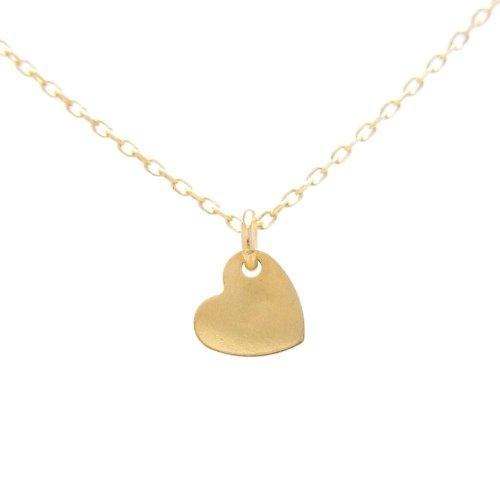 Gold Heart P 18金製 K18 gold ゴールド (日本製 Made in Japan) (金属アレルギー対応) ハート プレート プチ ペンダント ネックレス チェーン ジュエリー (Amazon.co.jp 限定) [HJ] (40 センチメートル)