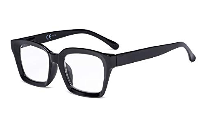 アイキーパー(Eyekepper) レーディス用 伊達メガネ 眼鏡枠 バネ蝶番 スクエア型 大きめレンズ ケース&クロス付き