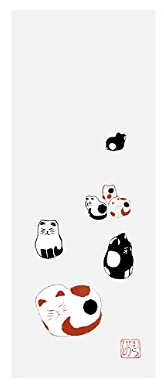 ひだまりのら 手ぬぐい ミニ お散歩 三毛 黒白 白黒 猫 フェイスタオル 手作り 90×33cm