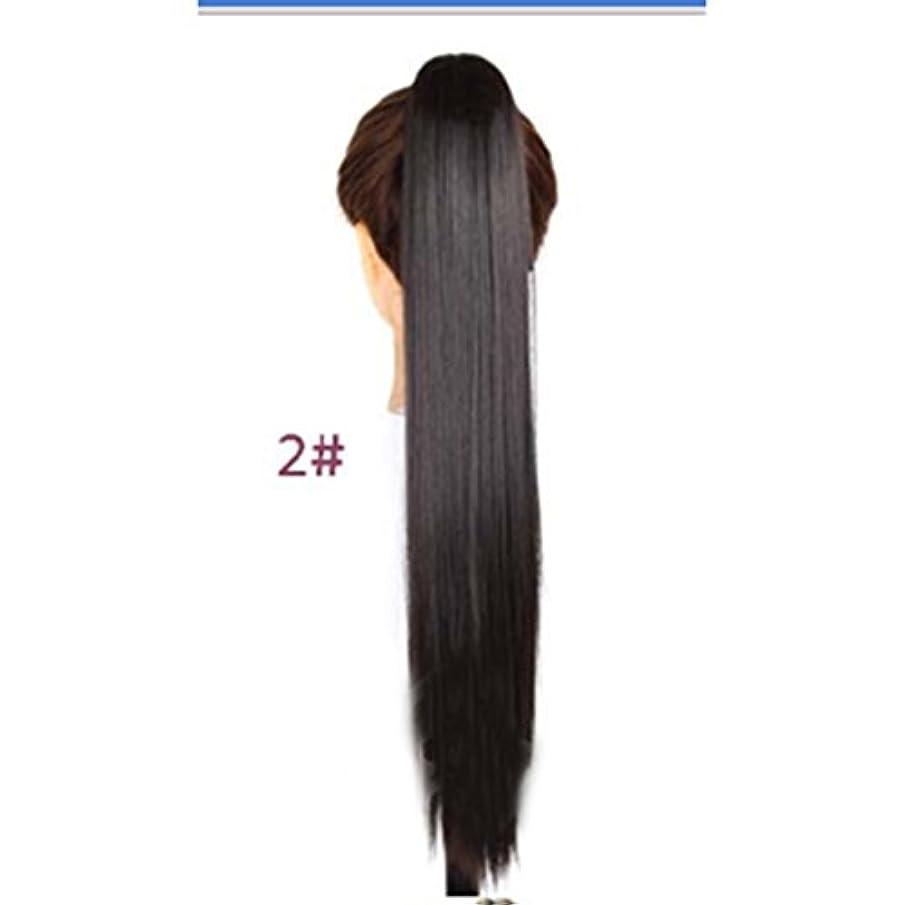ミリメートルシンプルさ煩わしいJIANFU 女性のための24inch / 150g合成高温ヘアピースの長さストレートポニーテール爪クリップロングストレートヘアエクステンション (色 : 2#)