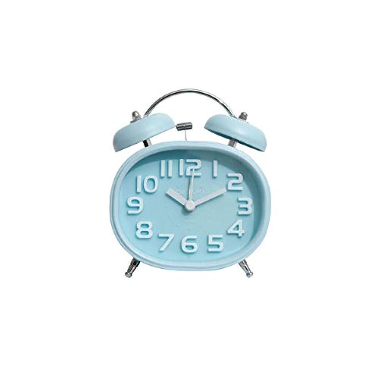 生まれ必要寸法Kaiyitong001 目覚まし時計、サイレントクロック、機械式リンギング環境ポインター、学生用小型目覚まし時計、ブラック、(シルバー) (Color : Blue)
