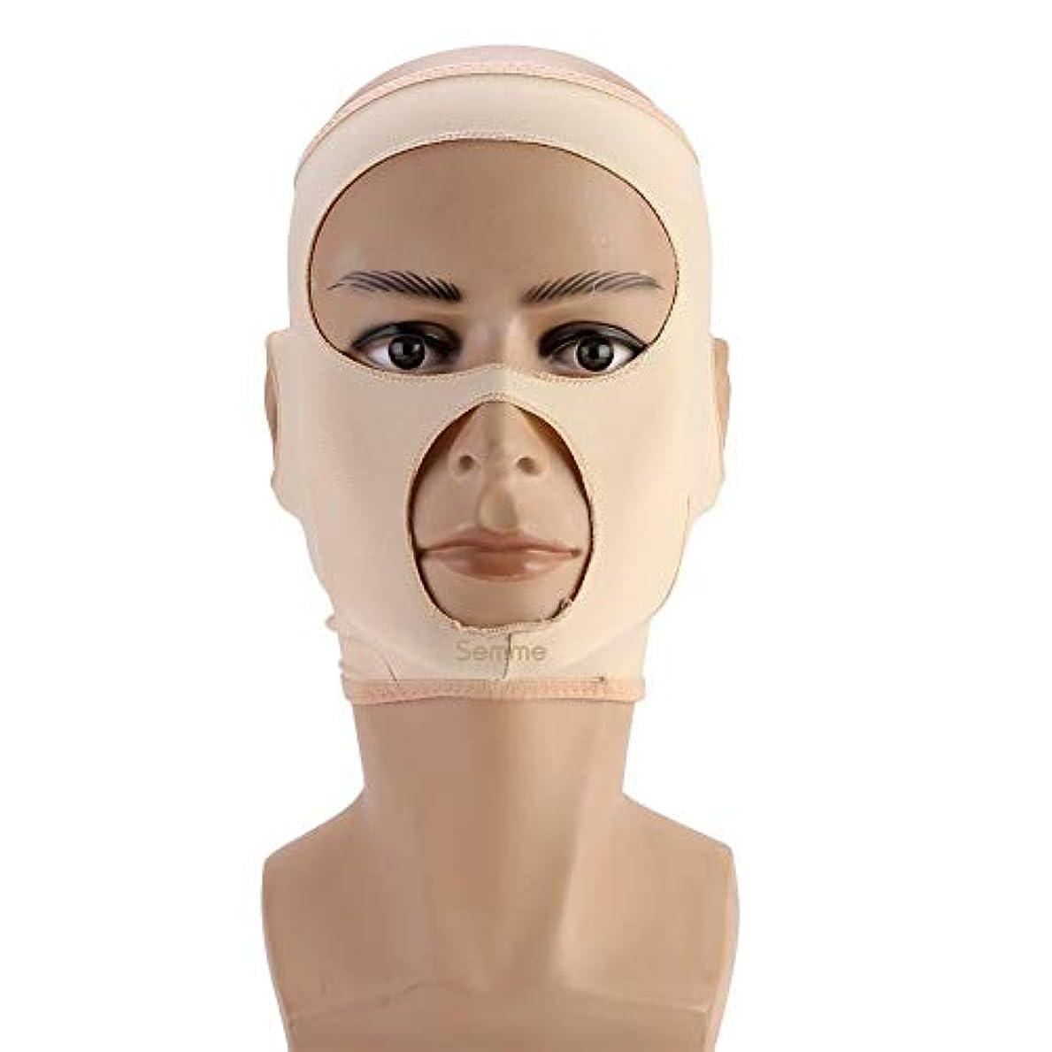 距離突然のナラーバー包帯を細くする顔の細くのマスク顔の二重あごの心配の減量の表面ベルト(L)