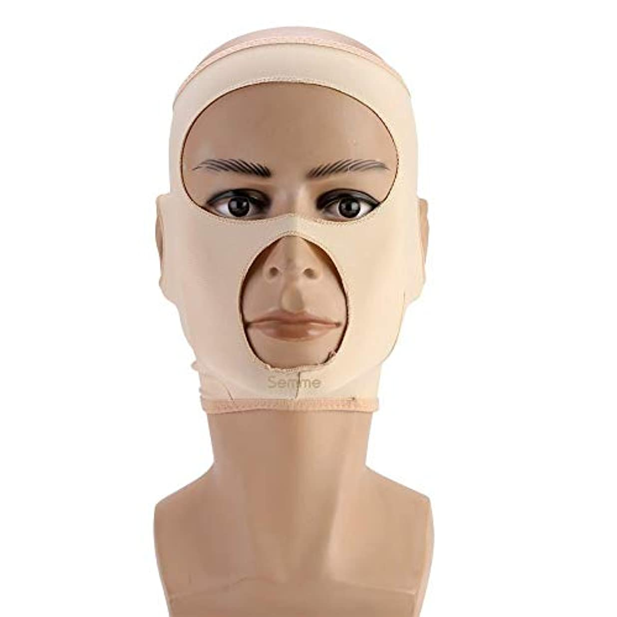 抗議お世話になったワイヤー包帯を細くする顔の細くのマスク顔の二重あごの心配の減量の表面ベルト(L)