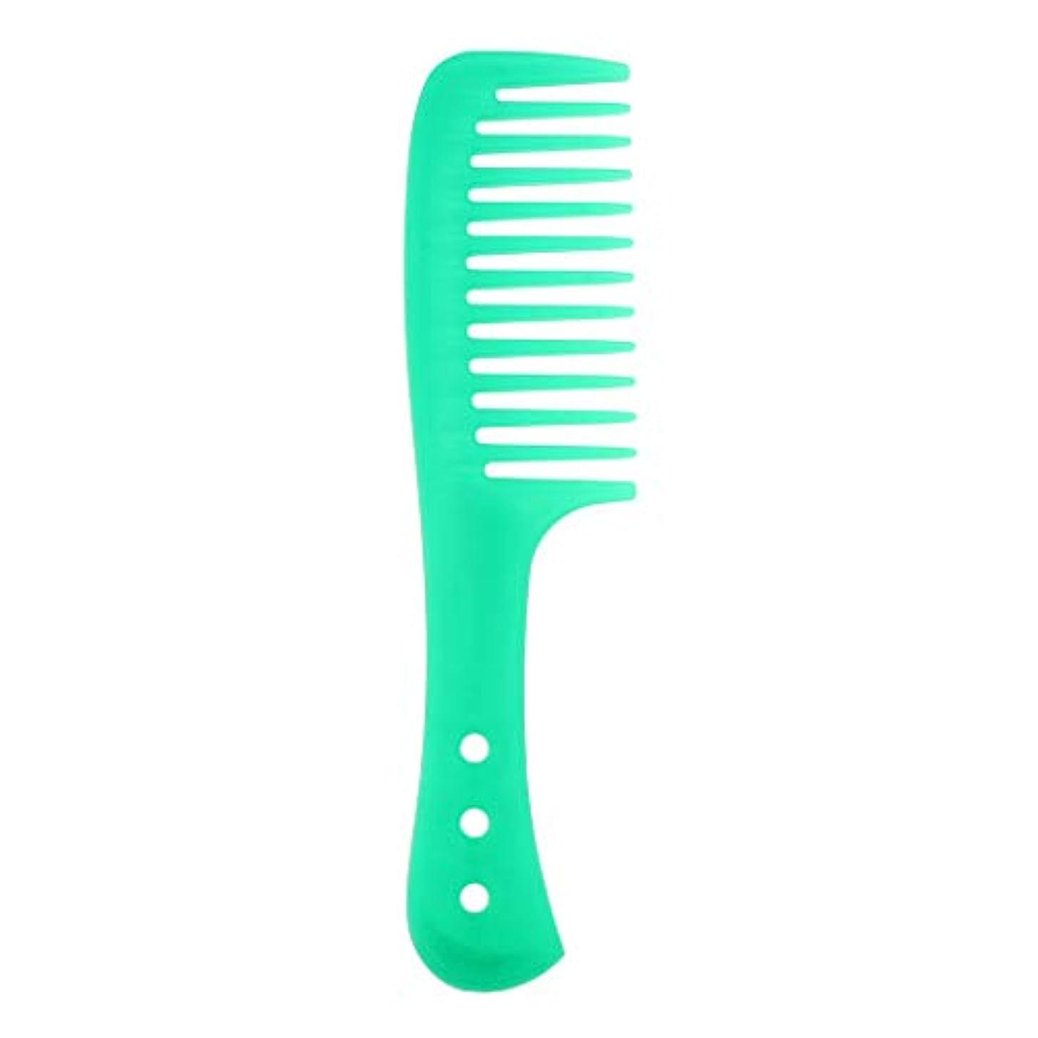 海賊ステレオタイプニュースポータブル理髪広い歯の櫛巻き毛のDetangler頭皮マッサージブラシ - 緑