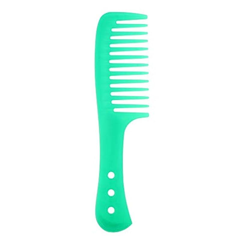 クロスどうやらうっかりポータブル理髪広い歯の櫛巻き毛のDetangler頭皮マッサージブラシ - 緑