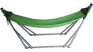 折りたたみ自立式スタンド付きポータブルハンモック 【M】サイズ(GREEN)