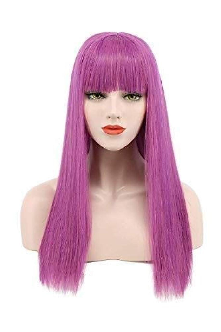 衰える口述暗殺者BeTTi ロングストレート紫色のかつらコスプレパーティーかつらセクシーな女性フルかつらナチュラルカラー耐熱安いパーティーのためのかつら日常的なドレス高密度