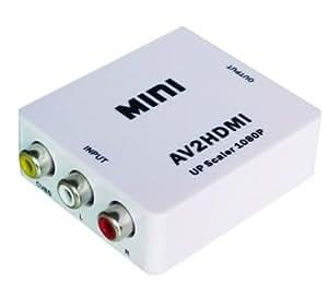 小型 コンポジット (AV / RCA3 / CVBS) → HDMIコンバーター 電源アダプタ付 HD Video Converter AV2HDMI