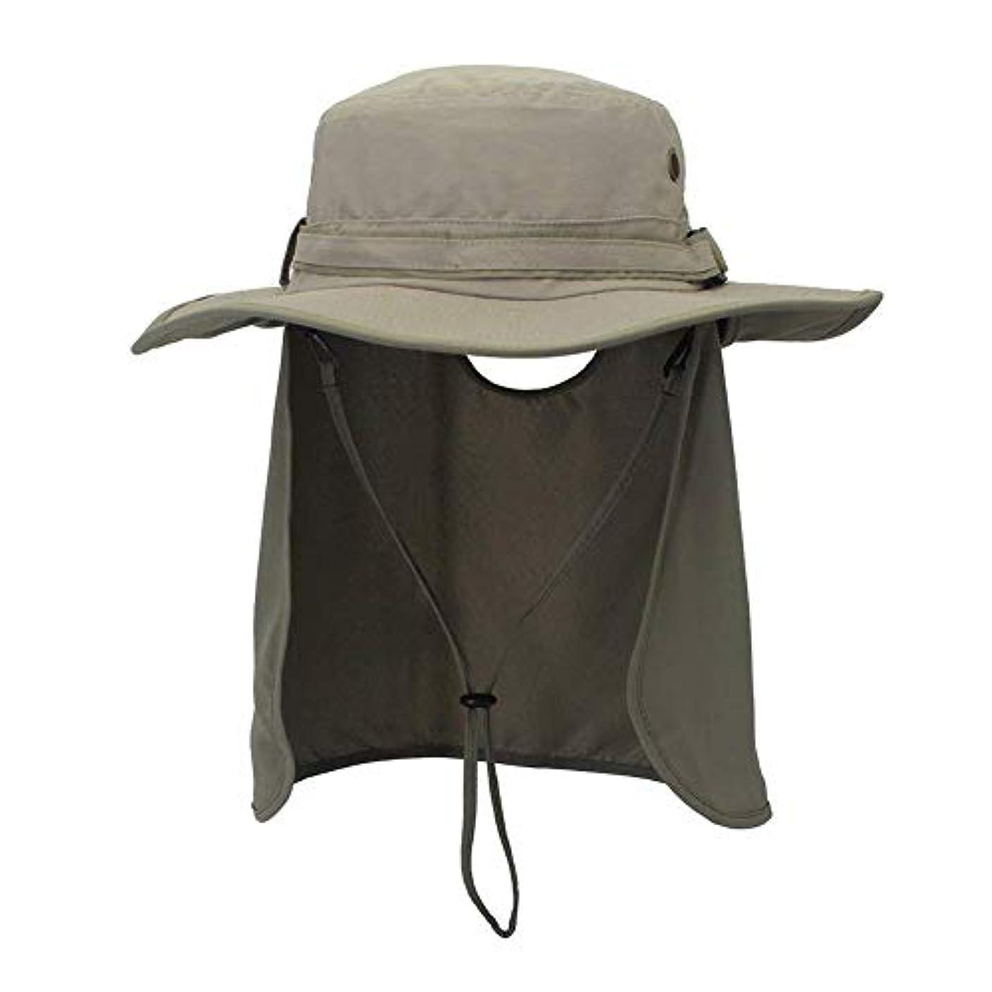 インサートポール広々とした釣り帽子、取り外し可能な折り返しの首カバー及び防風ストリップが付いているUPF 50の日曜日の保護広いつばの夏の屋外浜の釣り帽子、屋外のスポーツ及び旅行のための速い乾燥の日曜日の帽子。