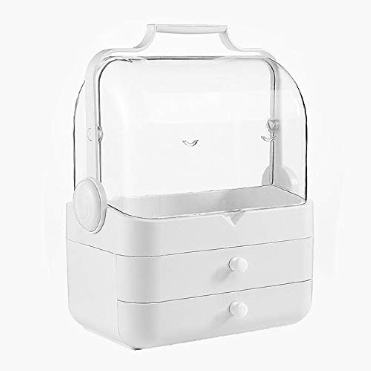 説明意味雨化粧箱、白い大容量フリップ防塵化粧品ケース、ポータブル旅行化粧品ケース、美容ネイルジュエリー収納ボックス