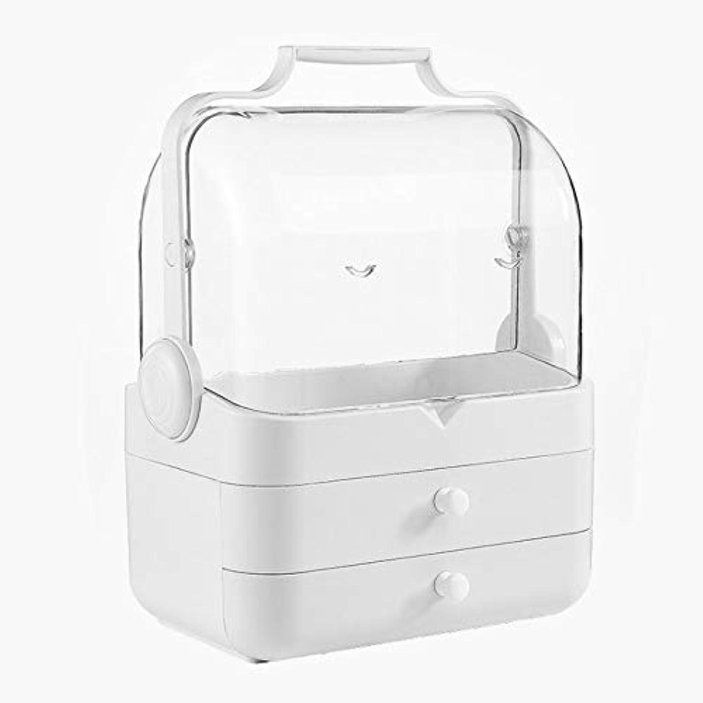 含意ナンセンス細胞化粧箱、白い大容量フリップ防塵化粧品ケース、ポータブル旅行化粧品ケース、美容ネイルジュエリー収納ボックス