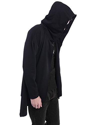 (クーファンディ)Coofandy ロングパーカー メンズ 長袖 マント フード 無地 ロング丈 吸血鬼風 暗黒系 ストリート 原宿系 存在感 際立つ ゆるシルエット こなれ感 大きいサイズ