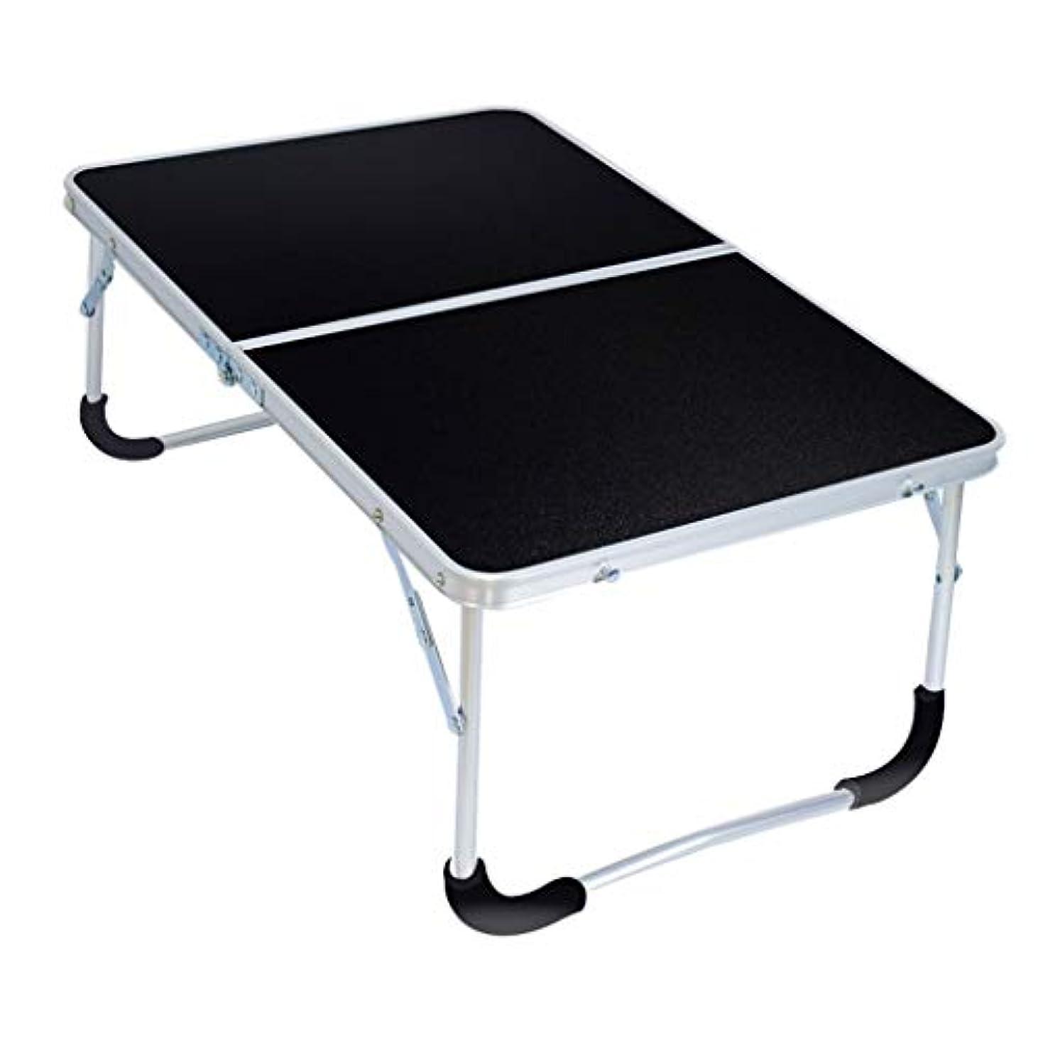 滴下綺麗なインポートFRF 折りたたみ式テーブル- ポータブル折り畳み式ラップトップデスク、ホームドームシンプルダイニングテーブル (色 : 黒, サイズ さいず : 62x42x27.5cm)