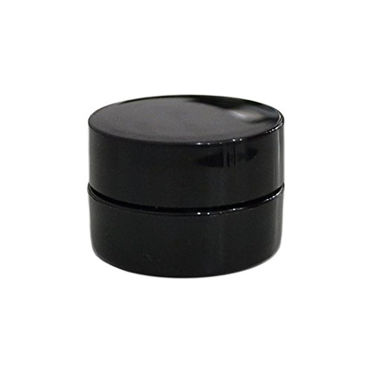 獲物勧告レンダー純国産ネイルジェルコンテナ 3g用 GA3g 漏れ防止パッキン&ブラシプレート付容器 ジェルを無駄なく使える底面傾斜あり 遮光 黒 ブラック