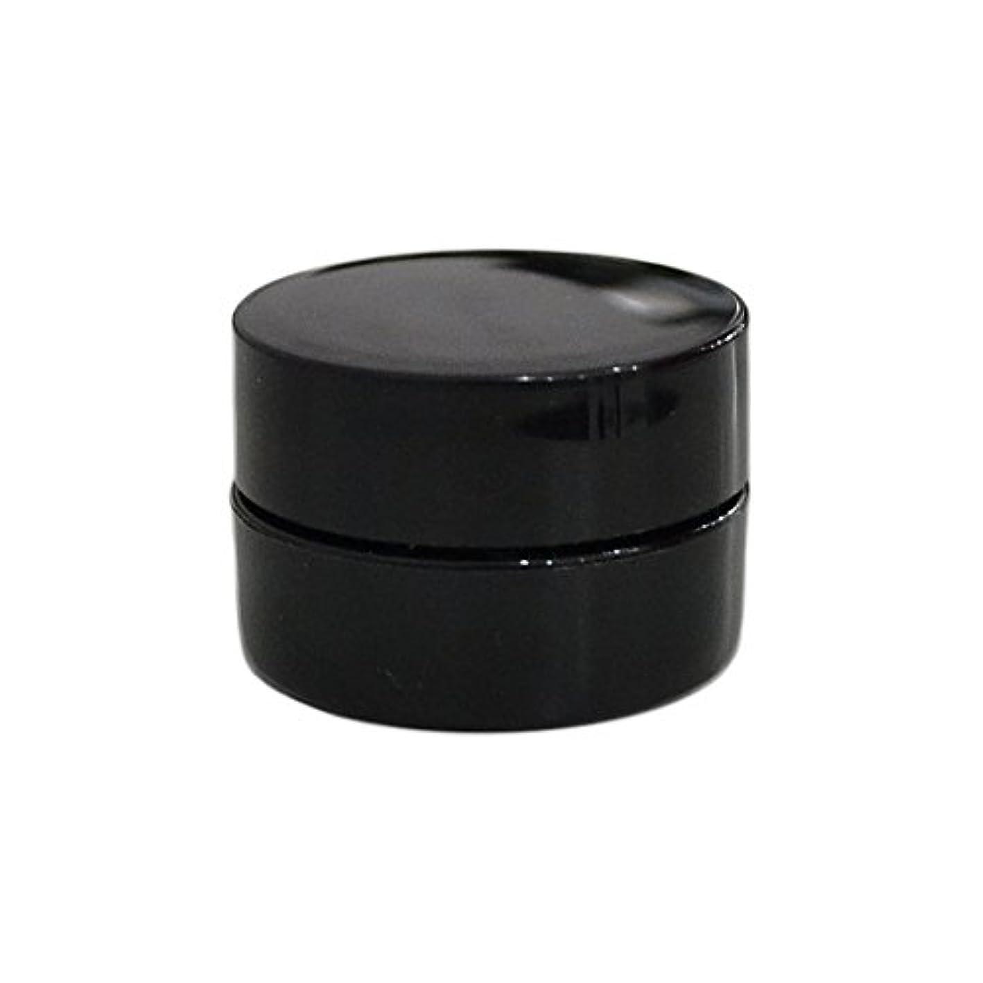 豊かな昼寝好意純国産ネイルジェルコンテナ 3g用 GA3g 漏れ防止パッキン&ブラシプレート付容器 ジェルを無駄なく使える底面傾斜あり 遮光 黒 ブラック