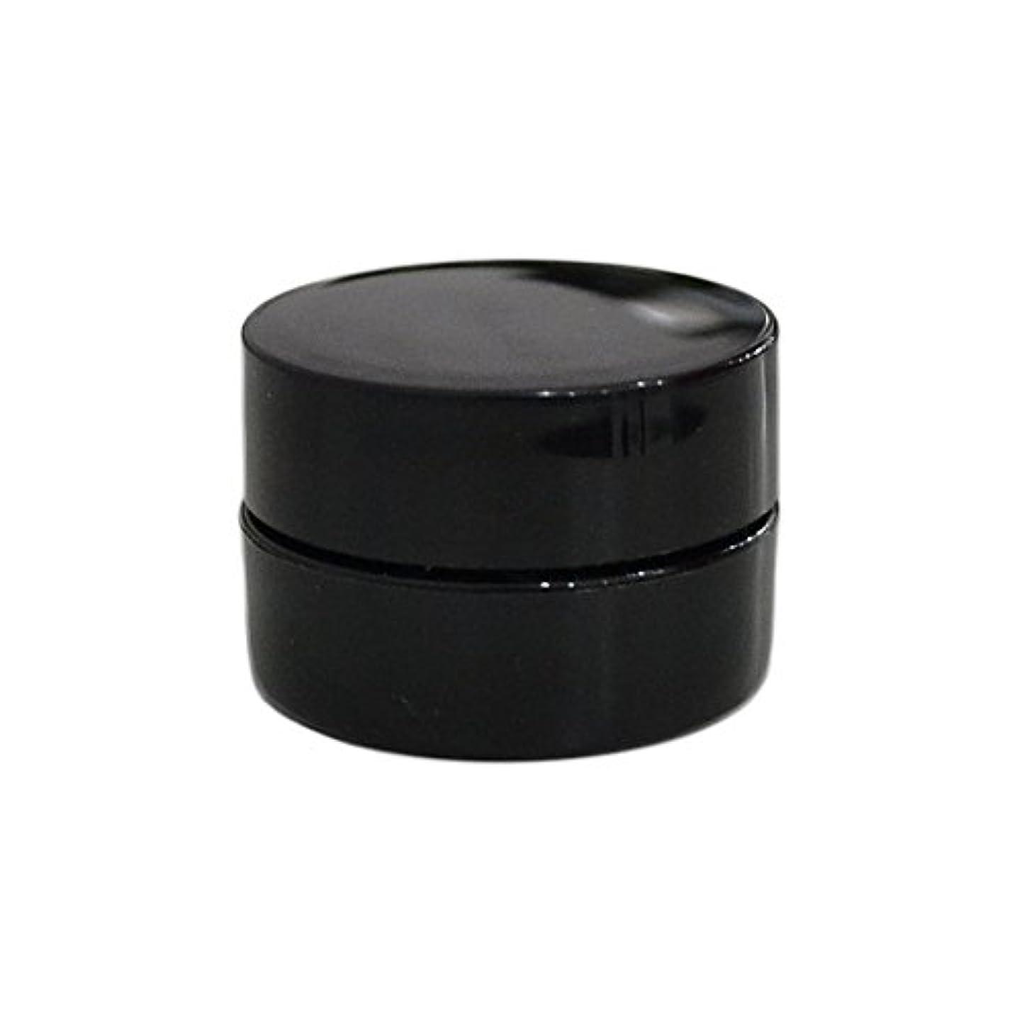 最少複数曲線純国産ネイルジェルコンテナ 3g用 GA3g 漏れ防止パッキン&ブラシプレート付容器 ジェルを無駄なく使える底面傾斜あり 遮光 黒 ブラック