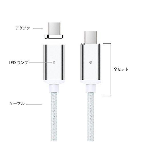 TOMSMOO 第四世代 1M ナイロンメッシュ編 マグネット式 充電ケーブル 高耐久 データ通信可能 iPhone/iPad/Android/Type-C/USB-C対応(シルバー 1M)