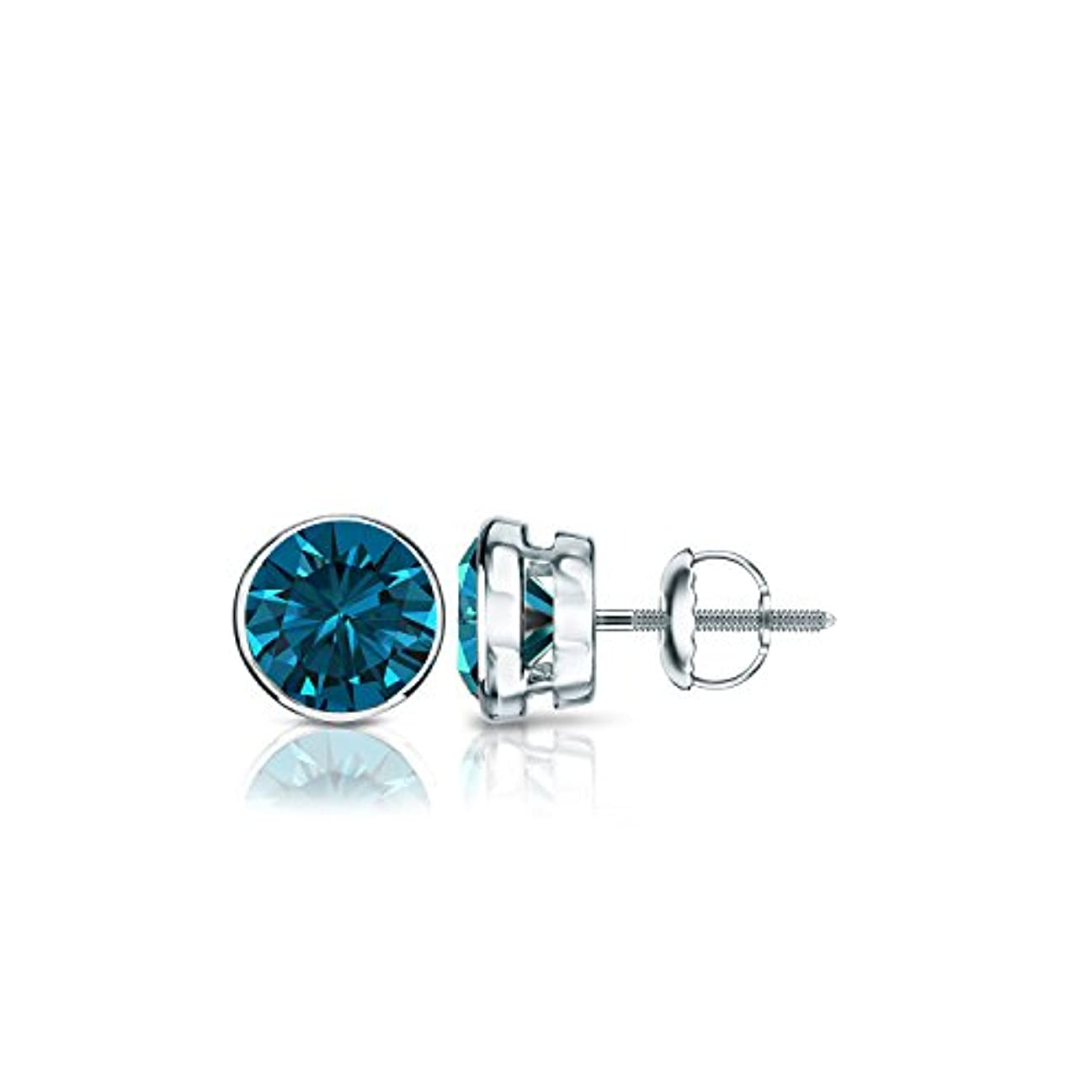 顧問ホーンフラスコ14 Kホワイトゴールドメンズラウンドブルーダイヤモンドbezel-setスタッドイヤリング( 1 / 4 – 2 ct、ブルー、i1 - i2 ) screw-back