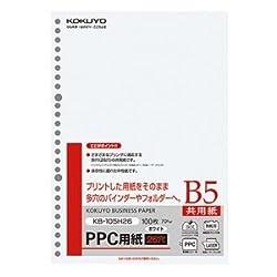 (まとめ) コクヨ PPC用紙(共用紙) B5 26穴 70g KB-105H26 1冊(100枚) 【×15セット】 [簡易パッケージ品]