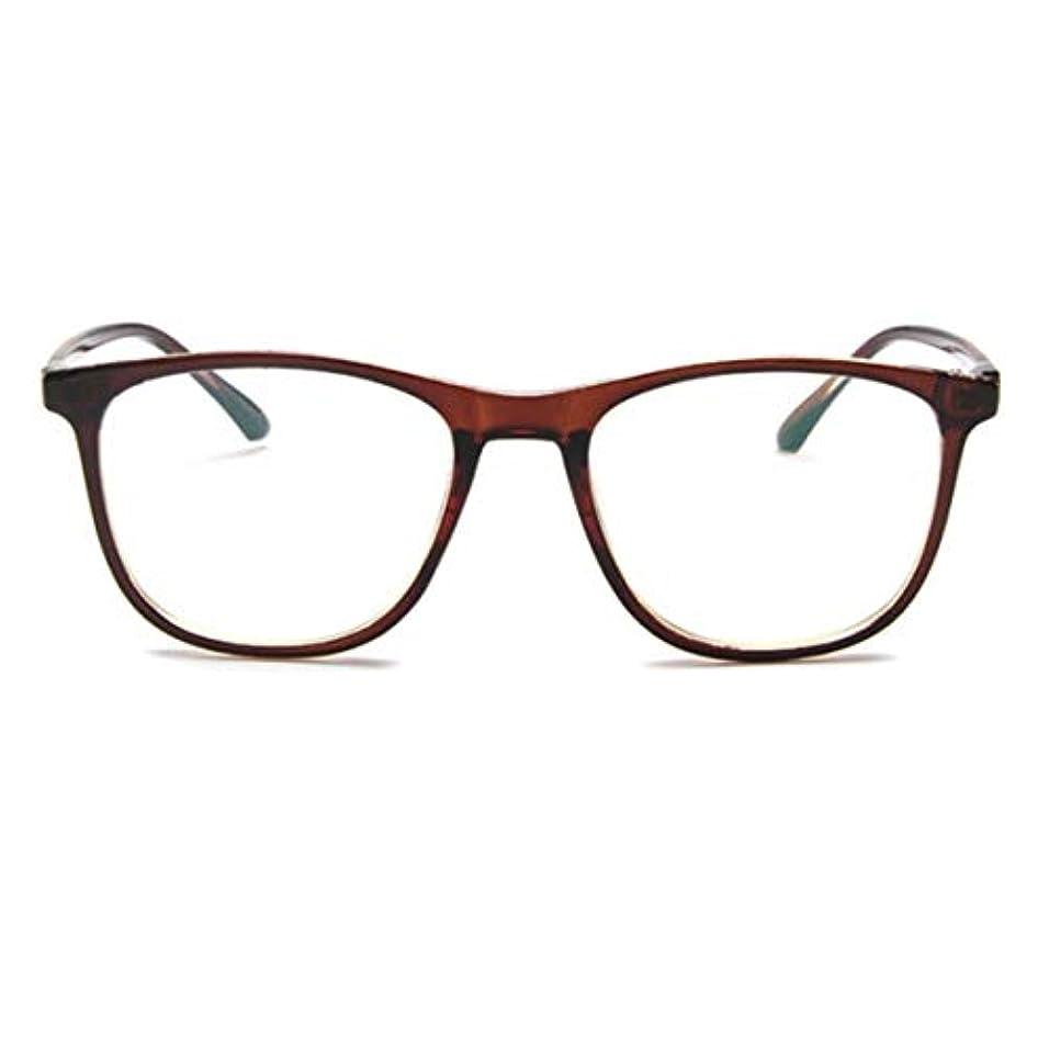 隠す確認する回転する韓国の学生のプレーンメガネ男性と女性のファッションメガネフレーム近視メガネフレームファッショナブルなシンプルなメガネ-ダークブラウン