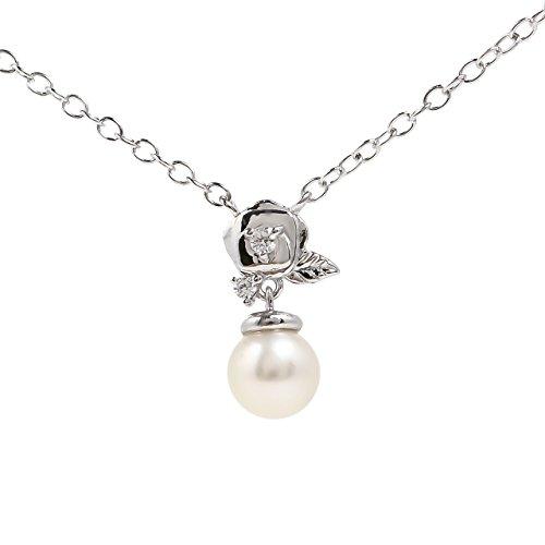 淡水 真珠 パール 5mm 一粒 ネックレス 花 フラワー バラ シルバー925 ペンダント